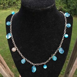 Silver blue catseye and crystals necklace
